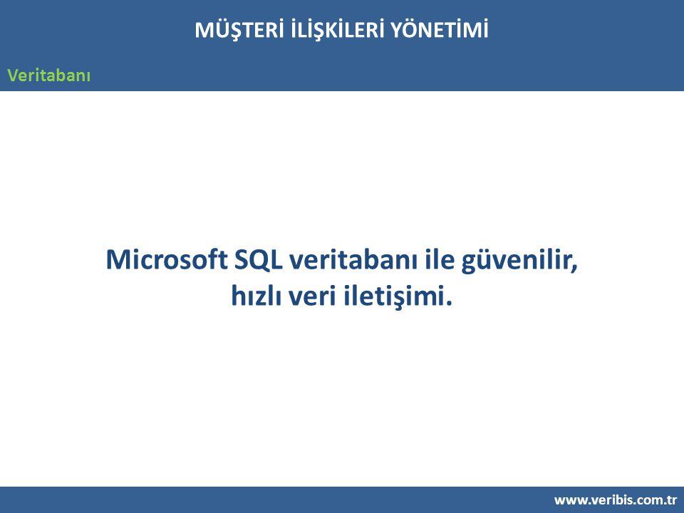 www.veribis.com.tr Veritabanı Microsoft SQL veritabanı ile güvenilir, hızlı veri iletişimi.