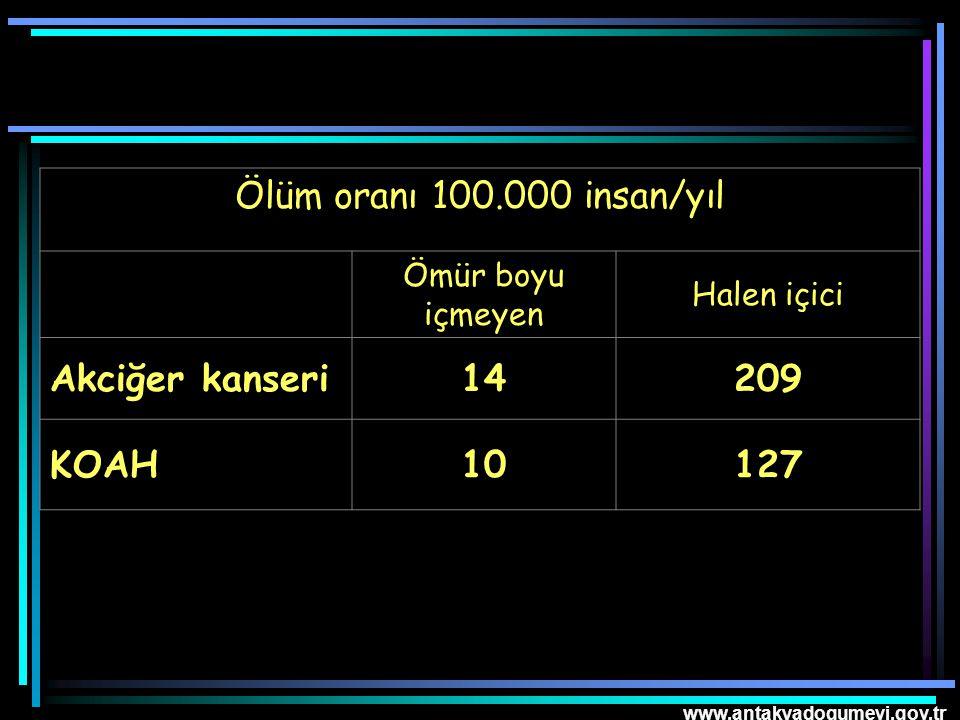 www.antakyadogumevi.gov.tr Ölüm oranı 100.000 insan/yıl Ömür boyu içmeyen Halen içici Akciğer kanseri14209 KOAH10127
