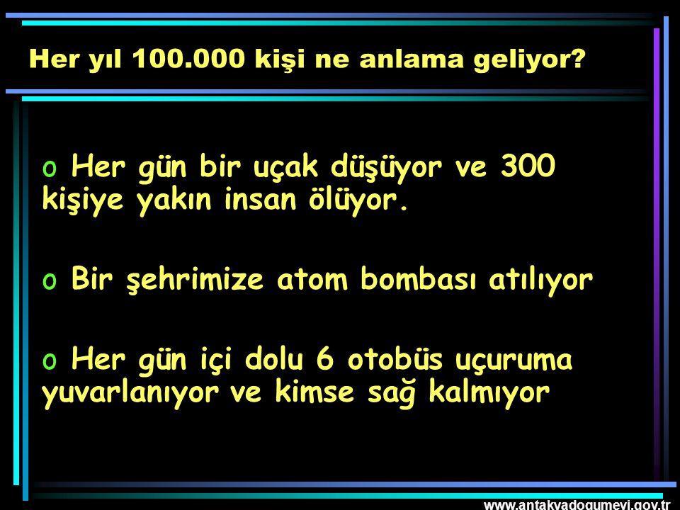 www.antakyadogumevi.gov.tr o Her gün bir uçak düşüyor ve 300 kişiye yakın insan ölüyor. o Bir şehrimize atom bombası atılıyor o Her gün içi dolu 6 oto