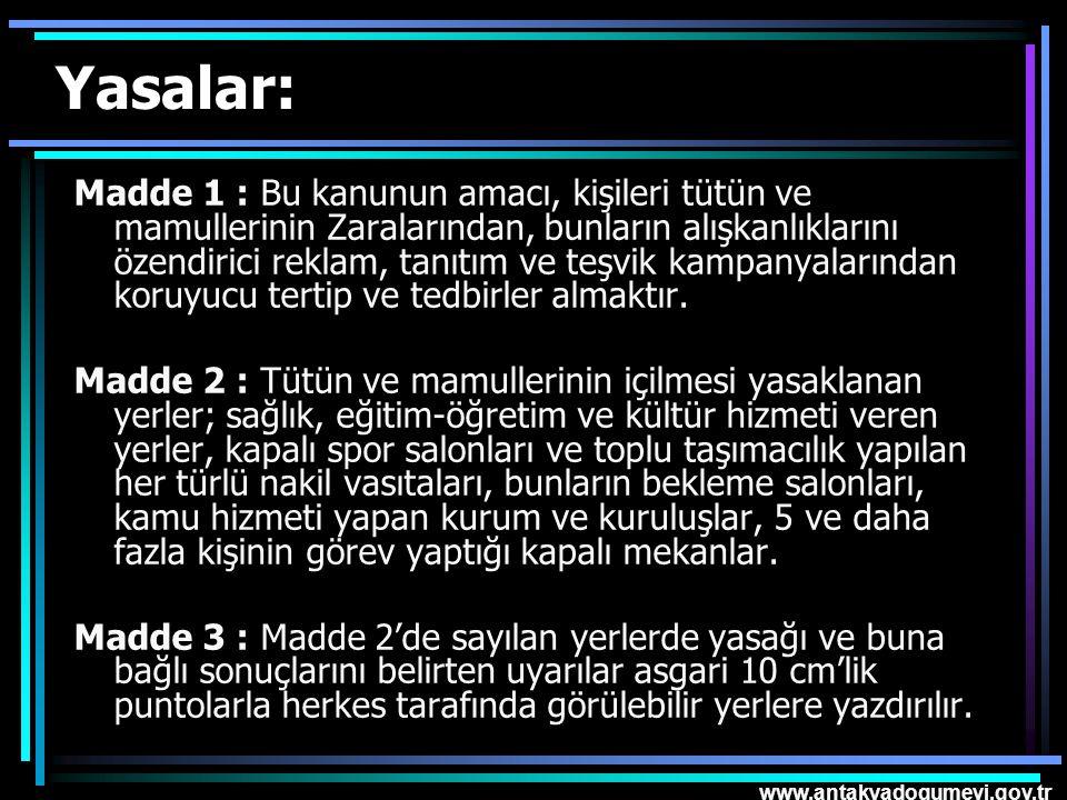 www.antakyadogumevi.gov.tr Yasalar: Madde 1 : Bu kanunun amacı, kişileri tütün ve mamullerinin Zaralarından, bunların alışkanlıklarını özendirici rekl