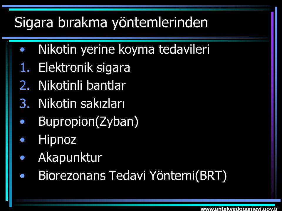 www.antakyadogumevi.gov.tr Sigara bırakma yöntemlerinden Nikotin yerine koyma tedavileri 1.Elektronik sigara 2.Nikotinli bantlar 3.Nikotin sakızları B