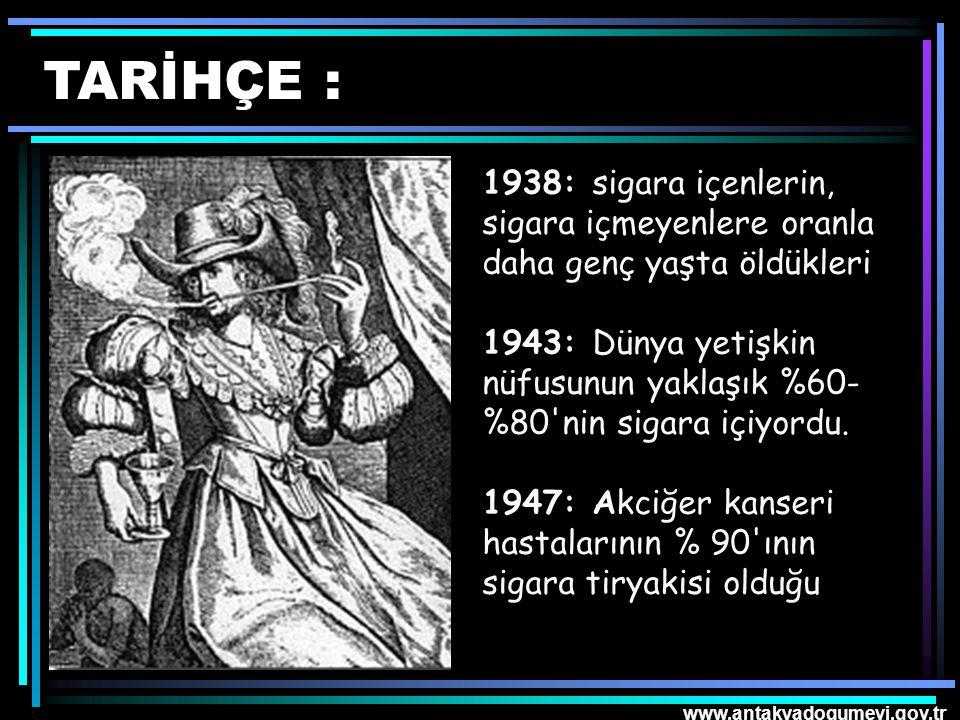 www.antakyadogumevi.gov.tr ANADOLU'DA SİGARA : Tütün Anadolu'ya Osmanlı İmparatorluğu zamanında 1605'te Venedikli tüccarlar tarafında sokulmuş ve kullanılışı kısa zamanda yayılmıştır.