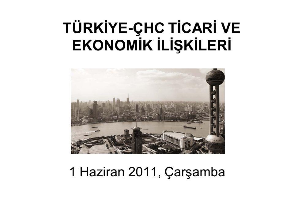 TÜRKİYE-ÇHC TİCARİ VE EKONOMİK İLİŞKİLERİ 1 Haziran 2011, Çarşamba