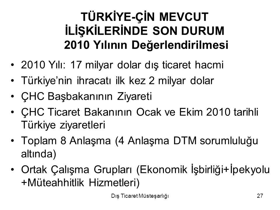 Dış Ticaret Müsteşarlığı27 TÜRKİYE-ÇİN MEVCUT İLİŞKİLERİNDE SON DURUM 2010 Yılının Değerlendirilmesi 2010 Yılı: 17 milyar dolar dış ticaret hacmi Türk