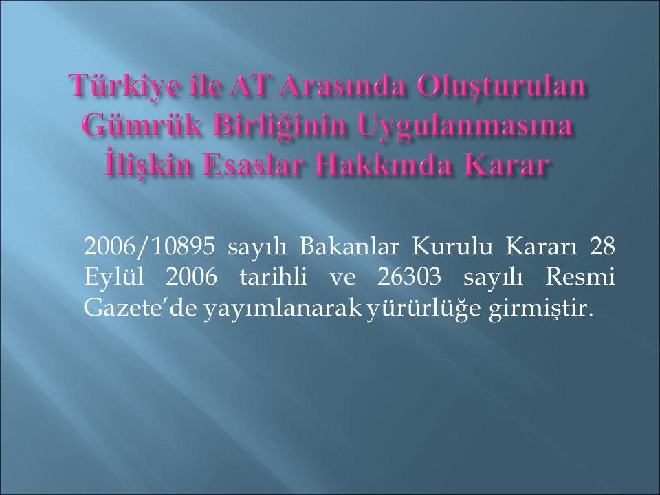 2006/10895 sayılı Bakanlar Kurulu Kararı 28 Eylül 2006 tarihli ve 26303 sayılı Resmi Gazete'de yayımlanarak yürürlüğe girmiştir.