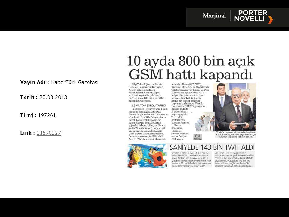Yayın Adı : Akşam Gazetesi Tarih : 20.08.2013 Tiraj : 105965 Link : 3157057931570579