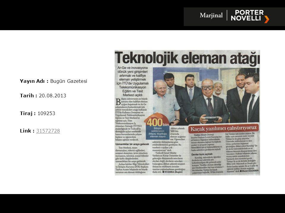 Yayın Adı : Anayurt Gazetesi Tarih : 21.08.2013 Tiraj : 15000 Link : 3158463131584631