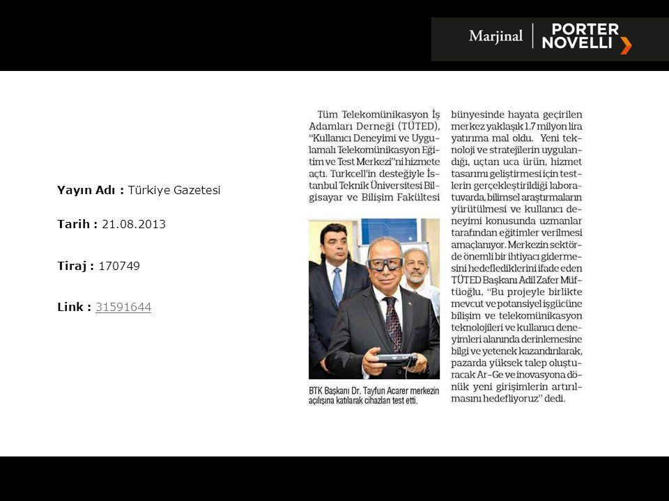 Yayın Adı : Hürses Gazetesi Tarih : 22.08.2013 Tiraj : 2132 Link : 3160831031608310