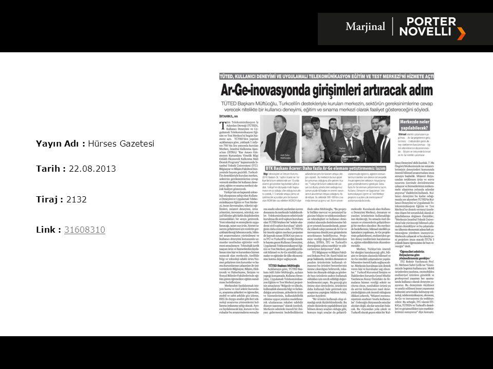 Yayın Adı : Haber Vaktim Gazetesi Tarih : 22.08.2013 Tiraj : 4000 Link : 3161301031613010