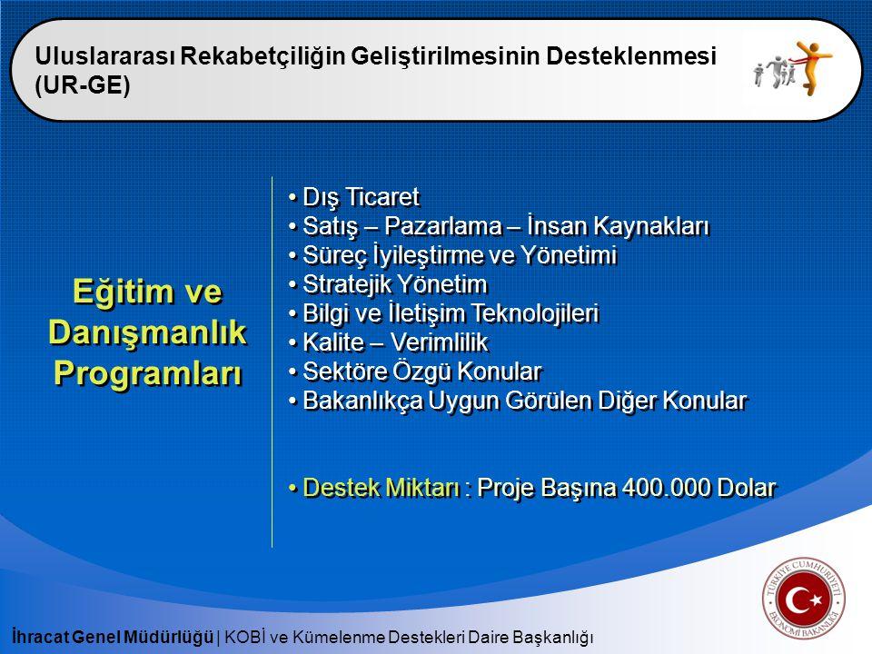 İhracat Genel Müdürlüğü   KOBİ ve Kümelenme Destekleri Daire Başkanlığı Uluslararası Rekabetçiliğin Geliştirilmesinin Desteklenmesi (UR-GE) Eğitim ve