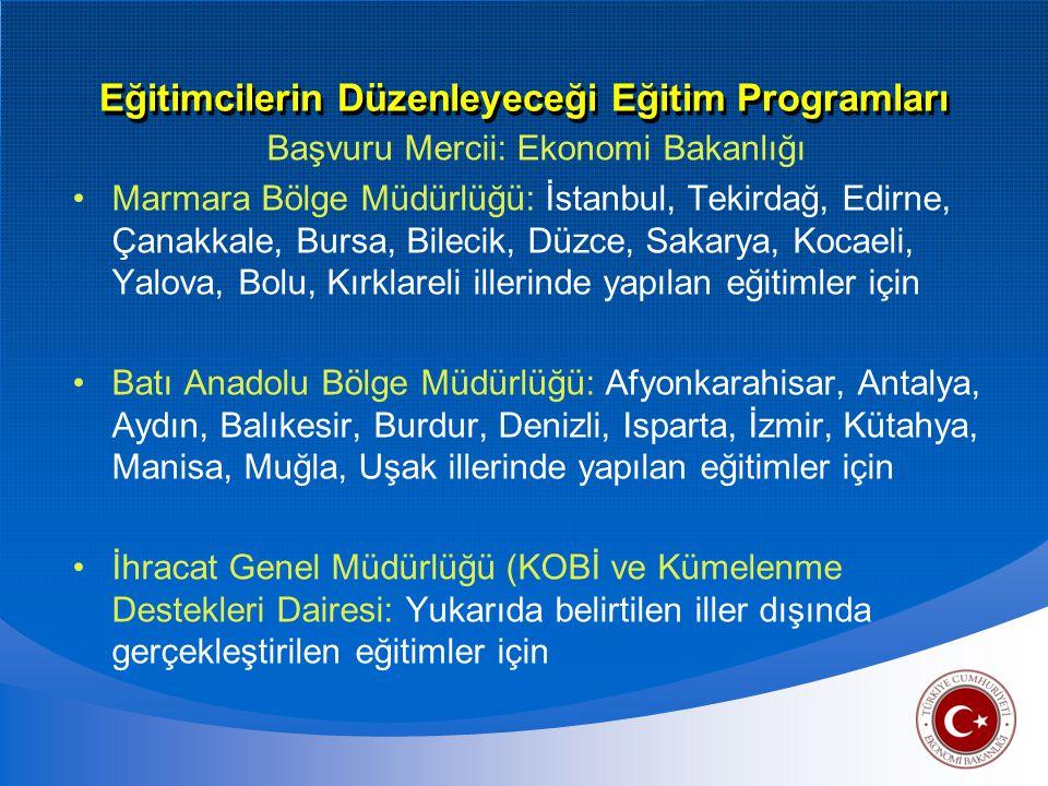 Eğitimcilerin Düzenleyeceği Eğitim Programları Başvuru Mercii: Ekonomi Bakanlığı Marmara Bölge Müdürlüğü: İstanbul, Tekirdağ, Edirne, Çanakkale, Bursa