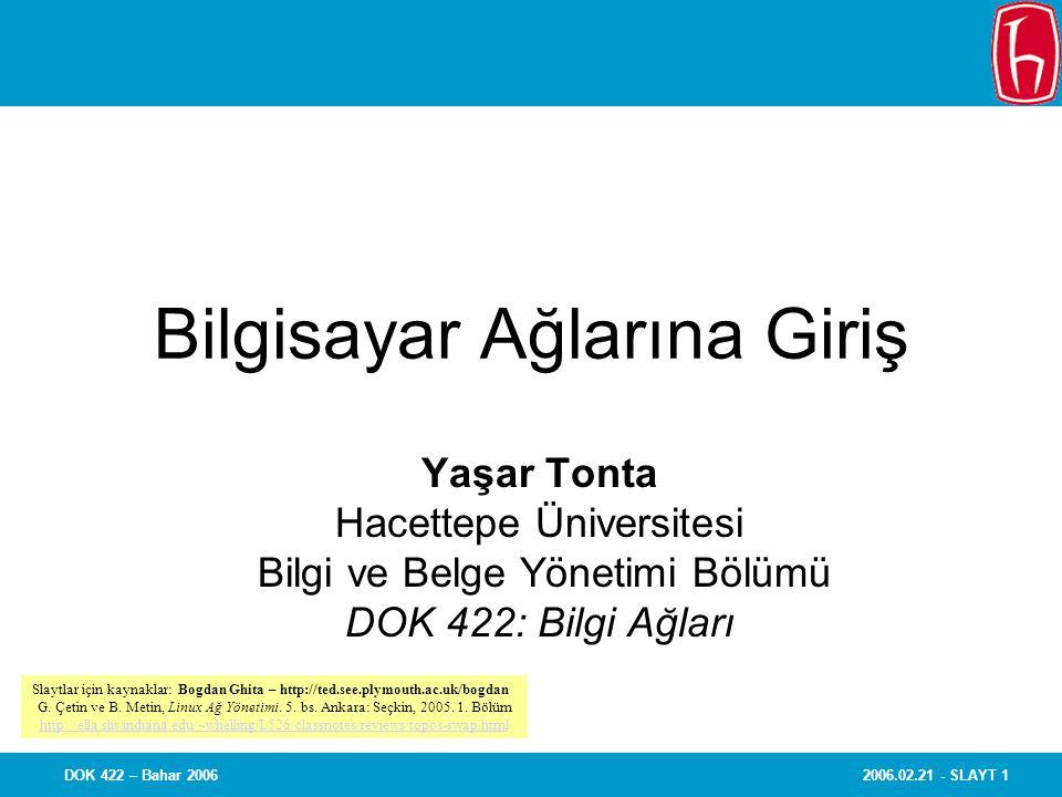 2006.02.21 - SLAYT 1DOK 422 – Bahar 2006 Bilgisayar Ağlarına Giriş Yaşar Tonta Hacettepe Üniversitesi Bilgi ve Belge Yönetimi Bölümü DOK 422: Bilgi Ağ