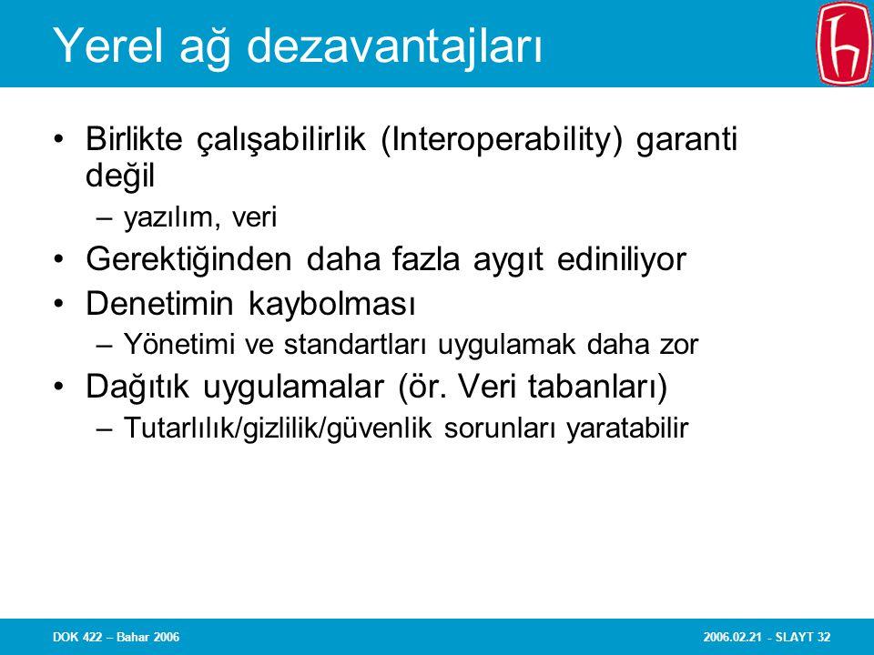 2006.02.21 - SLAYT 32DOK 422 – Bahar 2006 Yerel ağ dezavantajları Birlikte çalışabilirlik (Interoperability) garanti değil –yazılım, veri Gerektiğinde