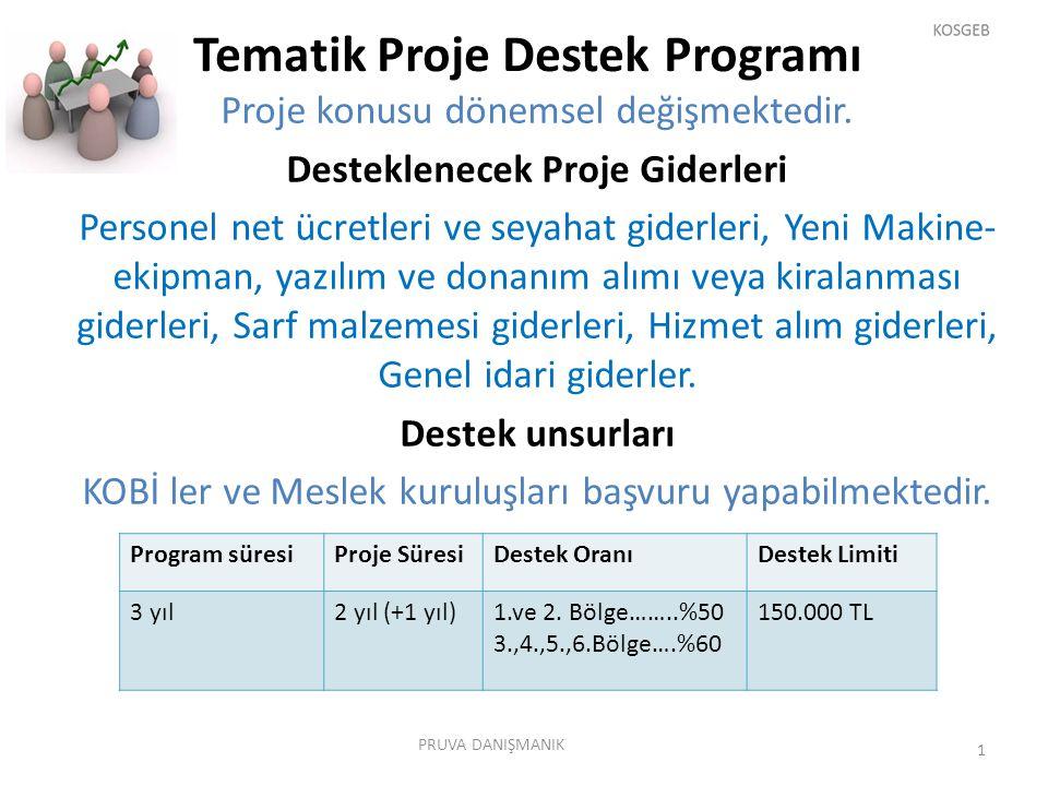 Tematik Proje Destek Programı Proje konusu dönemsel değişmektedir. Desteklenecek Proje Giderleri Personel net ücretleri ve seyahat giderleri, Yeni Mak