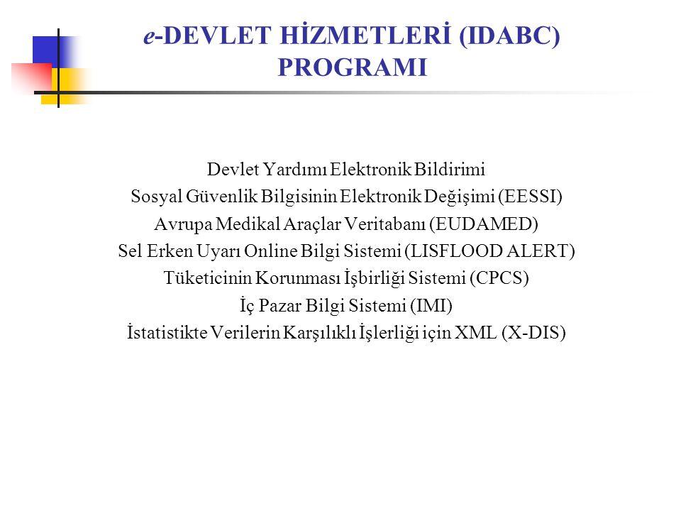 e-DEVLET HİZMETLERİ (IDABC) PROGRAMI Devlet Yardımı Elektronik Bildirimi Sosyal Güvenlik Bilgisinin Elektronik Değişimi (EESSI) Avrupa Medikal Araçlar Veritabanı (EUDAMED) Sel Erken Uyarı Online Bilgi Sistemi (LISFLOOD ALERT) Tüketicinin Korunması İşbirliği Sistemi (CPCS) İç Pazar Bilgi Sistemi (IMI) İstatistikte Verilerin Karşılıklı İşlerliği için XML (X-DIS)