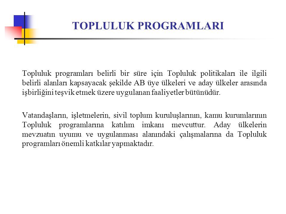 TOPLULUK PROGRAMLARI Topluluk programları, Avrupa Parlamentosu ve Avrupa Konseyi'nin onayı ile yürürlüğe girmekte ve programa ilişkin teklif çağrılarını (ihale) yayımlayan ilgili Komisyon Genel Müdürlüğü tarafından yürütülmektedir.