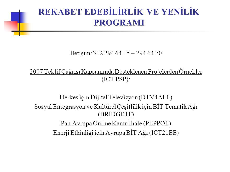REKABET EDEBİLİRLİK VE YENİLİK PROGRAMI İletişim: 312 294 64 15 – 294 64 70 2007 Teklif Çağrısı Kapsamında Desteklenen Projelerden Örnekler (ICT PSP): Herkes için Dijital Televizyon (DTV4ALL) Sosyal Entegrasyon ve Kültürel Çeşitlilik için BİT Tematik Ağı (BRIDGE IT) Pan Avrupa Online Kamu İhale (PEPPOL) Enerji Etkinliği için Avrupa BİT Ağı (ICT21EE)