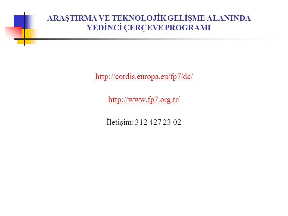 ARAŞTIRMA VE TEKNOLOJİK GELİŞME ALANINDA YEDİNCİ ÇERÇEVE PROGRAMI http://cordis.europa.eu/fp7/dc/ http://www.fp7.org.tr/ İletişim: 312 427 23 02