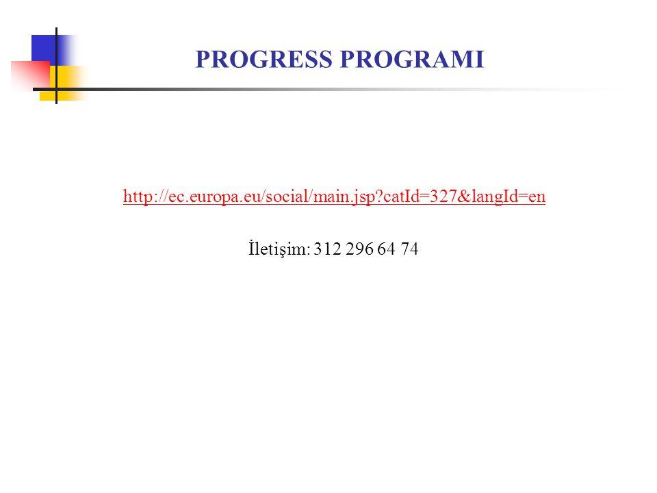 PROGRESS PROGRAMI http://ec.europa.eu/social/main.jsp?catId=327&langId=en İletişim: 312 296 64 74
