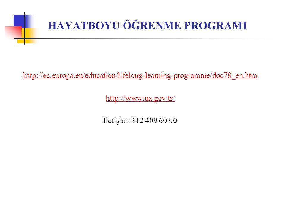 HAYATBOYU ÖĞRENME PROGRAMI http://ec.europa.eu/education/lifelong-learning-programme/doc78_en.htm http://www.ua.gov.tr/ İletişim: 312 409 60 00