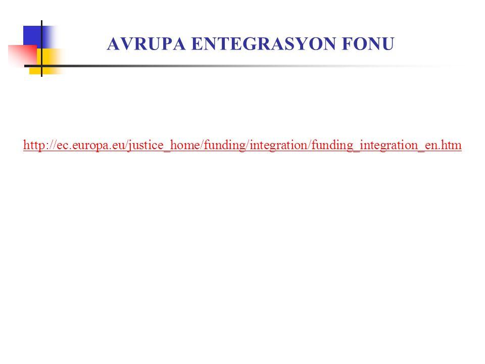 AVRUPA ENTEGRASYON FONU http://ec.europa.eu/justice_home/funding/integration/funding_integration_en.htm