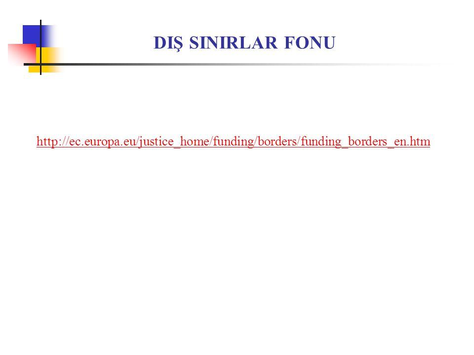 DIŞ SINIRLAR FONU http://ec.europa.eu/justice_home/funding/borders/funding_borders_en.htm