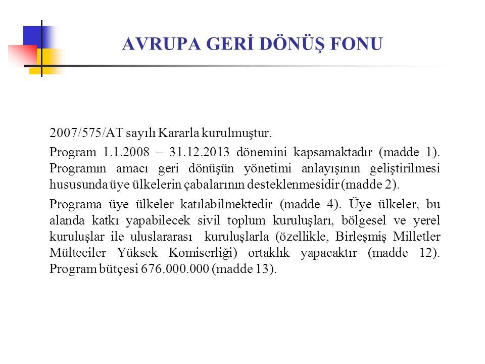 AVRUPA GERİ DÖNÜŞ FONU 2007/575/AT sayılı Kararla kurulmuştur.