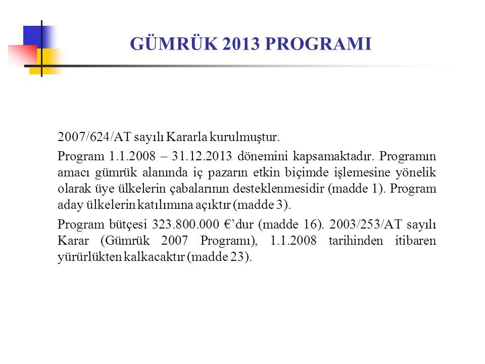 GÜMRÜK 2013 PROGRAMI 2007/624/AT sayılı Kararla kurulmuştur.