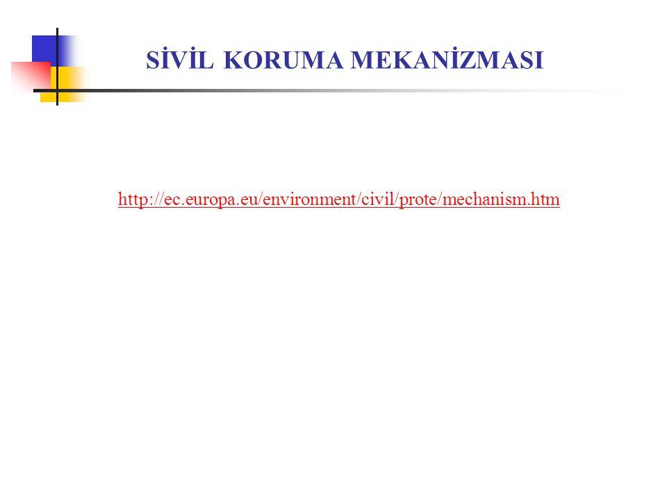 SİVİL KORUMA MEKANİZMASI http://ec.europa.eu/environment/civil/prote/mechanism.htm