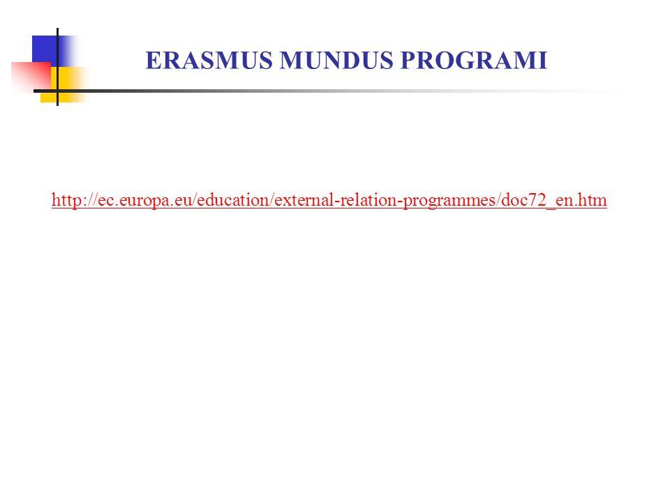 ERASMUS MUNDUS PROGRAMI http://ec.europa.eu/education/external-relation-programmes/doc72_en.htm