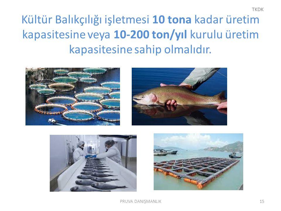 Kültür Balıkçılığı işletmesi 10 tona kadar üretim kapasitesine veya 10-200 ton/yıl kurulu üretim kapasitesine sahip olmalıdır. PRUVA DANIŞMANLIK15