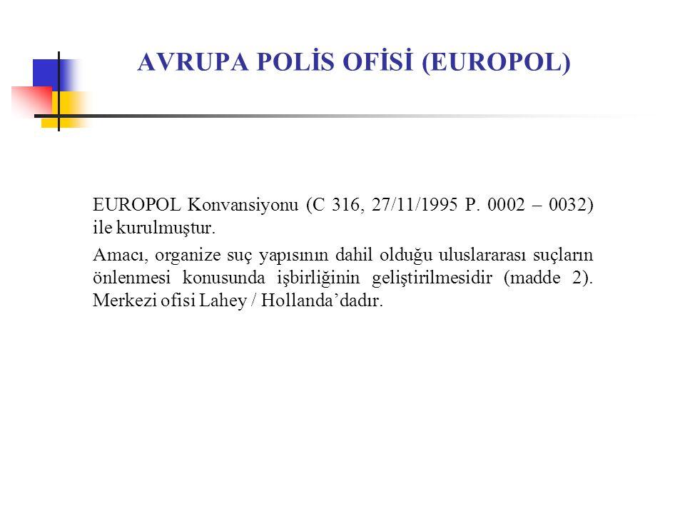 AVRUPA POLİS OFİSİ (EUROPOL) EUROPOL Konvansiyonu (C 316, 27/11/1995 P.