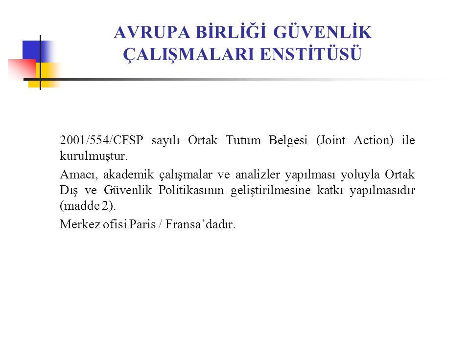 AVRUPA BİRLİĞİ GÜVENLİK ÇALIŞMALARI ENSTİTÜSÜ 2001/554/CFSP sayılı Ortak Tutum Belgesi (Joint Action) ile kurulmuştur.