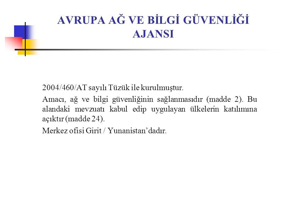 AVRUPA AĞ VE BİLGİ GÜVENLİĞİ AJANSI 2004/460/AT sayılı Tüzük ile kurulmuştur.