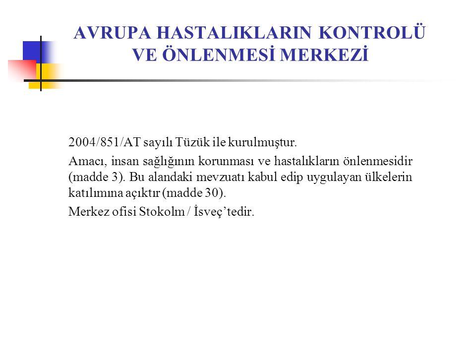 AVRUPA HASTALIKLARIN KONTROLÜ VE ÖNLENMESİ MERKEZİ 2004/851/AT sayılı Tüzük ile kurulmuştur.