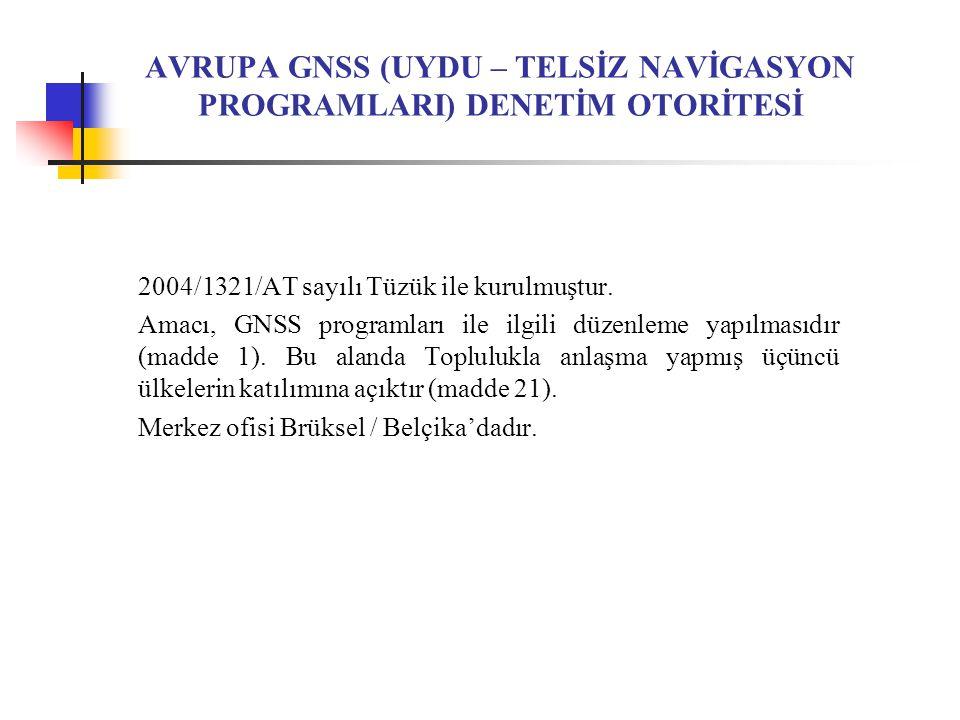 AVRUPA GNSS (UYDU – TELSİZ NAVİGASYON PROGRAMLARI) DENETİM OTORİTESİ 2004/1321/AT sayılı Tüzük ile kurulmuştur.