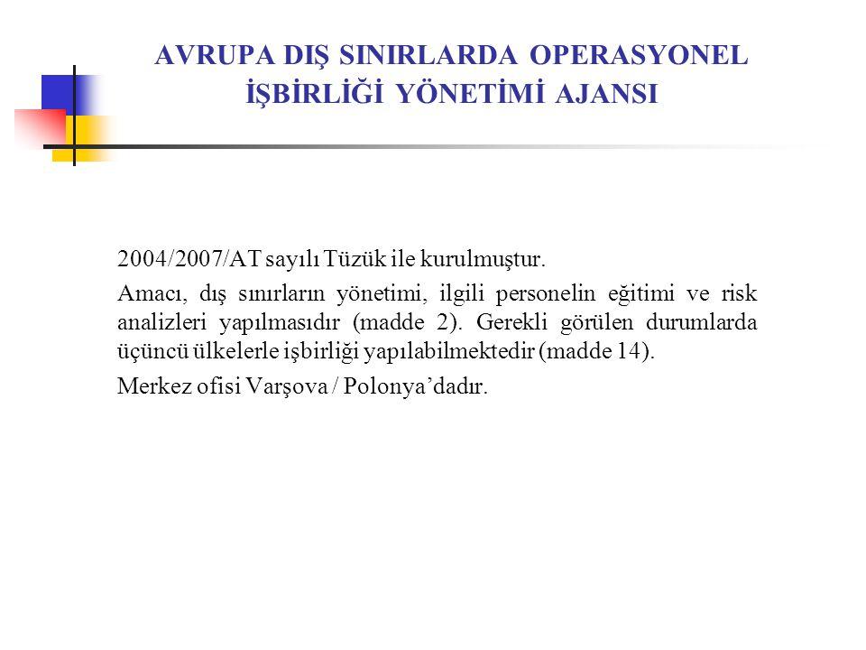 AVRUPA DIŞ SINIRLARDA OPERASYONEL İŞBİRLİĞİ YÖNETİMİ AJANSI 2004/2007/AT sayılı Tüzük ile kurulmuştur.