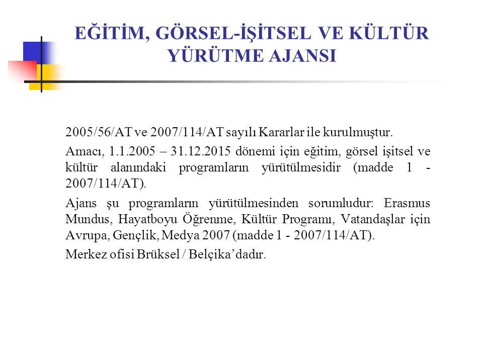 EĞİTİM, GÖRSEL-İŞİTSEL VE KÜLTÜR YÜRÜTME AJANSI 2005/56/AT ve 2007/114/AT sayılı Kararlar ile kurulmuştur.