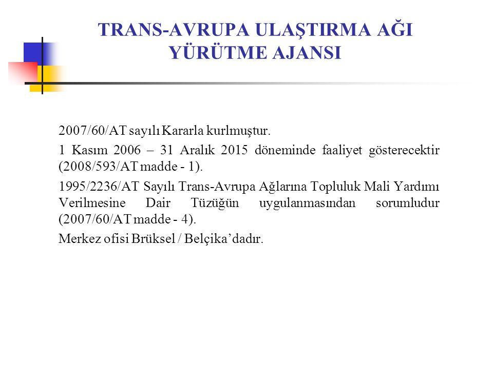 TRANS-AVRUPA ULAŞTIRMA AĞI YÜRÜTME AJANSI 2007/60/AT sayılı Kararla kurlmuştur.