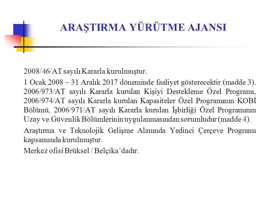 ARAŞTIRMA YÜRÜTME AJANSI 2008/46/AT sayılı Kararla kurulmuştur.