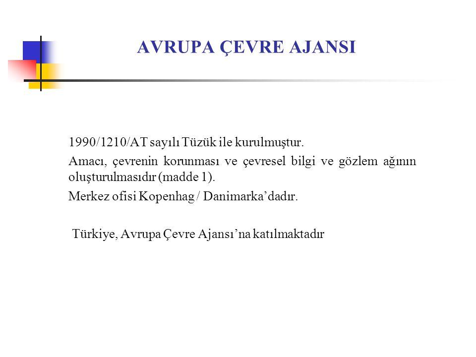 AVRUPA ÇEVRE AJANSI 1990/1210/AT sayılı Tüzük ile kurulmuştur.