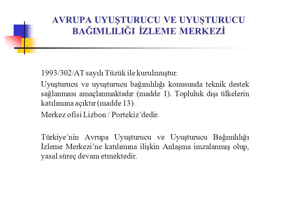 AVRUPA UYUŞTURUCU VE UYUŞTURUCU BAĞIMLILIĞI İZLEME MERKEZİ 1993/302/AT sayılı Tüzük ile kurulmuştur.