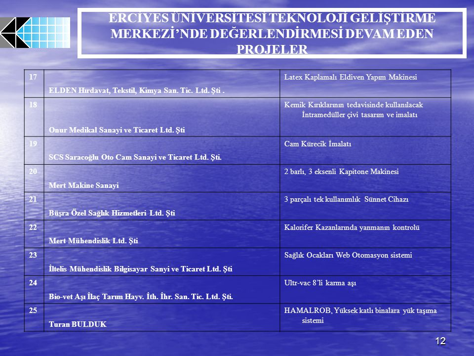 12 ERCİYES ÜNİVERSİTESİ TEKNOLOJİ GELİŞTİRME MERKEZİ'NDE DEĞERLENDİRMESİ DEVAM EDEN PROJELER 17 ELDEN Hırdavat, Tekstil, Kimya San. Tic. Ltd. Şti. Lat