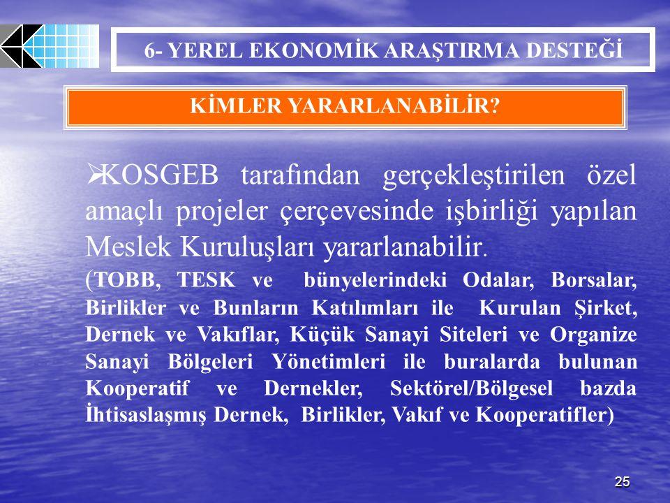 25 6- YEREL EKONOMİK ARAŞTIRMA DESTEĞİ KİMLER YARARLANABİLİR?  KOSGEB tarafından gerçekleştirilen özel amaçlı projeler çerçevesinde işbirliği yapılan
