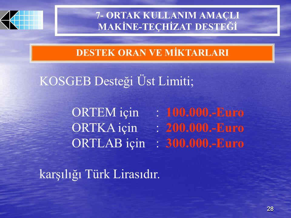 28 7- ORTAK KULLANIM AMAÇLI MAKİNE-TEÇHİZAT DESTEĞİ DESTEK ORAN VE MİKTARLARI KOSGEB Desteği Üst Limiti; ORTEM için: 100.000.-Euro ORTKA için: 200.000