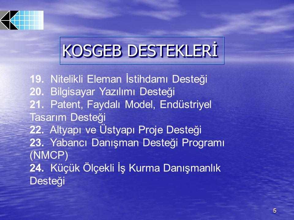 26 6- YEREL EKONOMİK ARAŞTIRMA DESTEĞİ DESTEK ORAN VE MİKTARLARI KOSGEB Destek Miktarı Üst Limiti; 15.000.-EURO karşılığı Türk Lirası olarak belirlenmiştir.