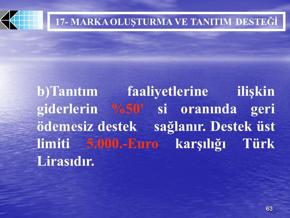 63 b)Tanıtım faaliyetlerine ilişkin giderlerin %50' si oranında geri ödemesiz destek sağlanır. Destek üst limiti 5.000.-Euro karşılığı Türk Lirasıdır.