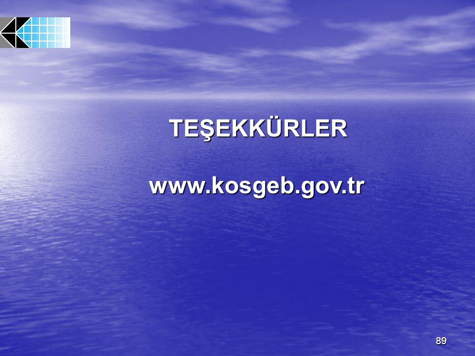 89 TEŞEKKÜRLER TEŞEKKÜRLERwww.kosgeb.gov.tr