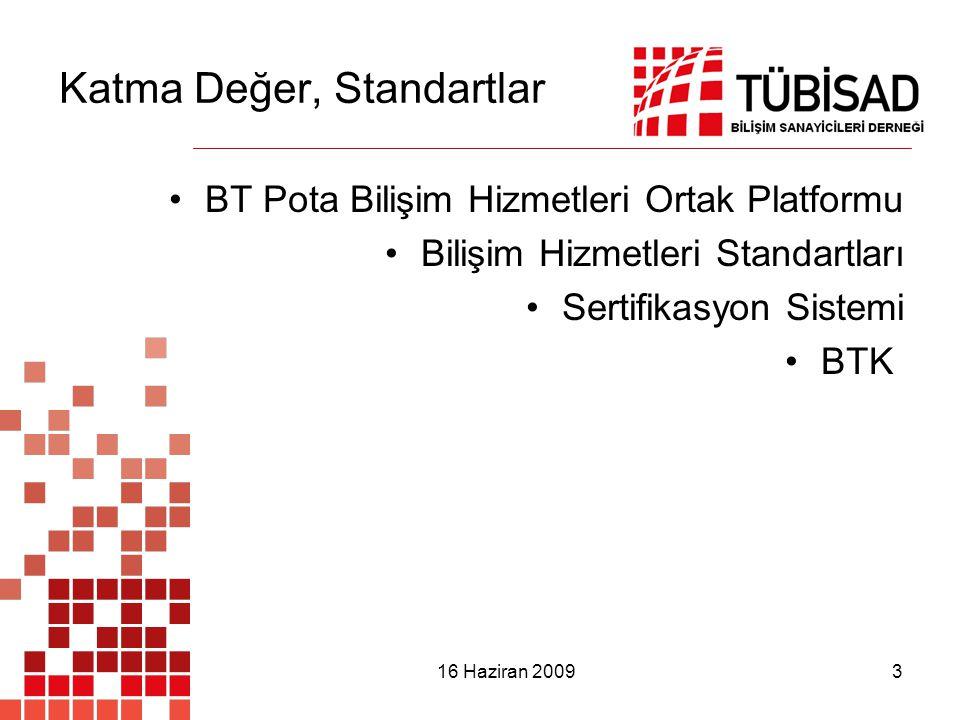 16 Haziran 2009 3 Katma Değer, Standartlar BT Pota Bilişim Hizmetleri Ortak Platformu Bilişim Hizmetleri Standartları Sertifikasyon Sistemi BTK