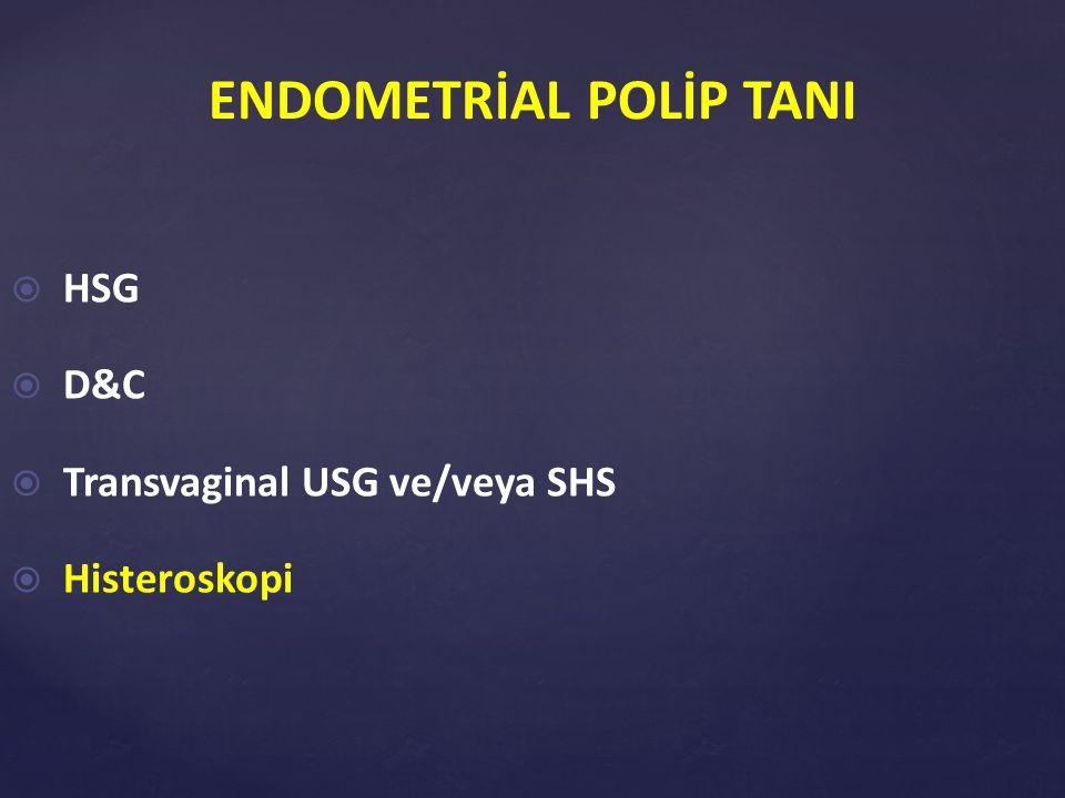  Sensitivite %100  Spesifite %50-60 (Sutton C, 2006) ENDOMETRİAL POLİP TANISINDA HİSTEROSKOPİ